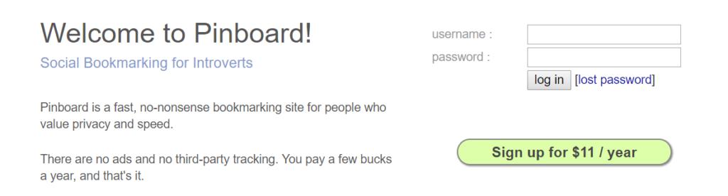Pinboard website