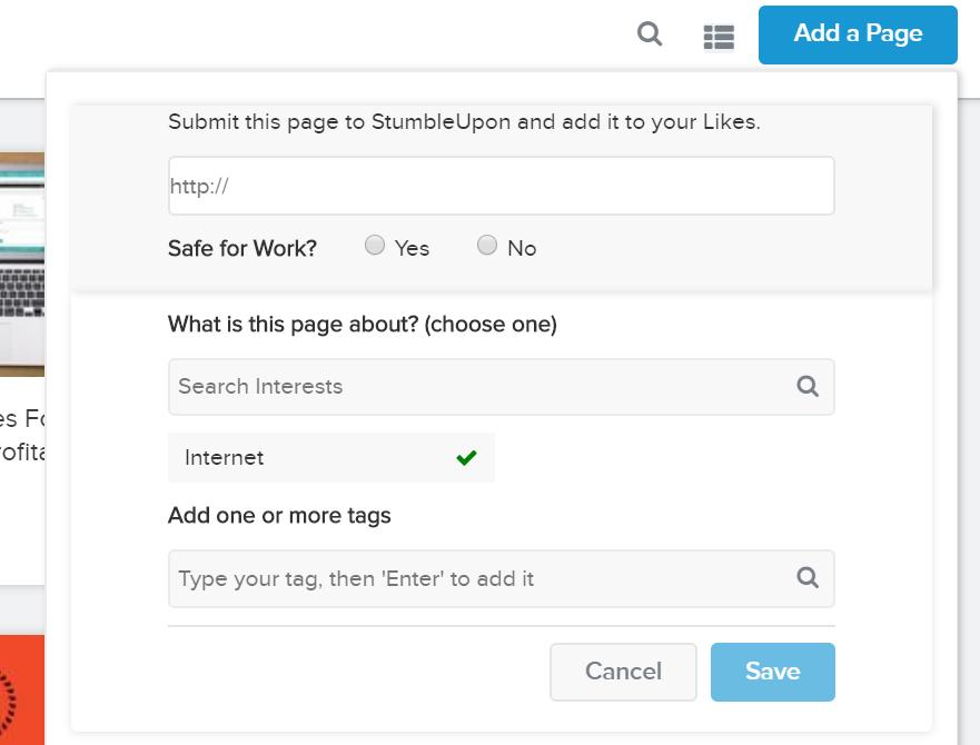 StumbleUpon add page
