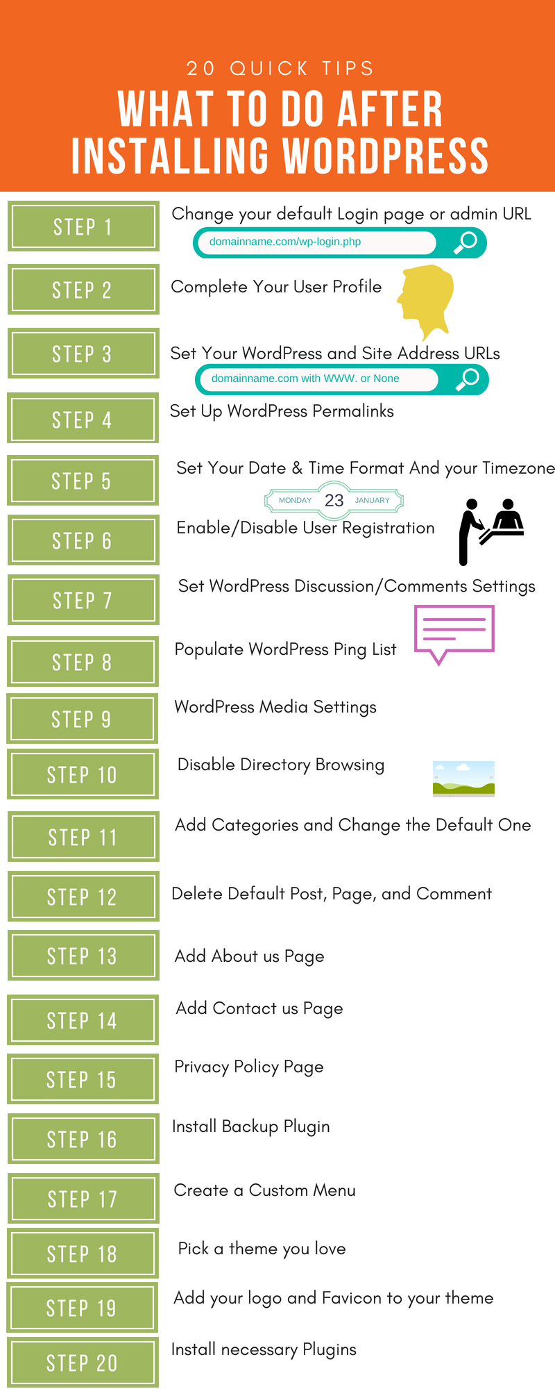 20 Quick Tips What To Do After Installing WordPress Infographic