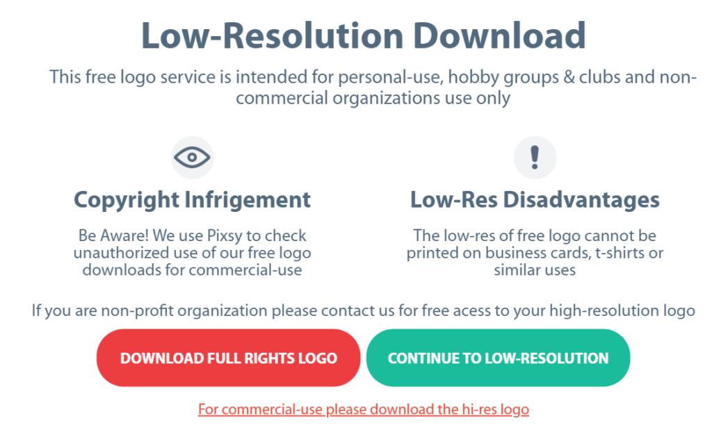 OnlineLogoMaker Low resolution warning