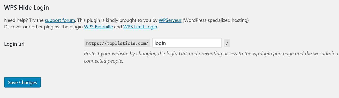 WP Hide Login URL