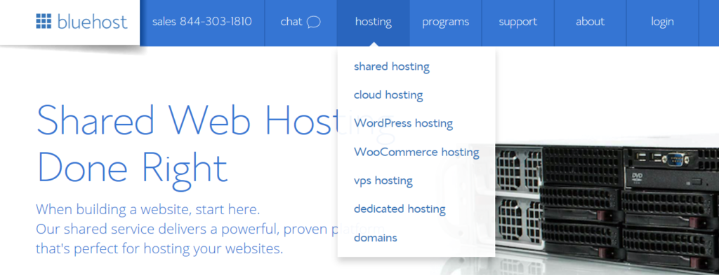 Bluehost Shared hosting selection