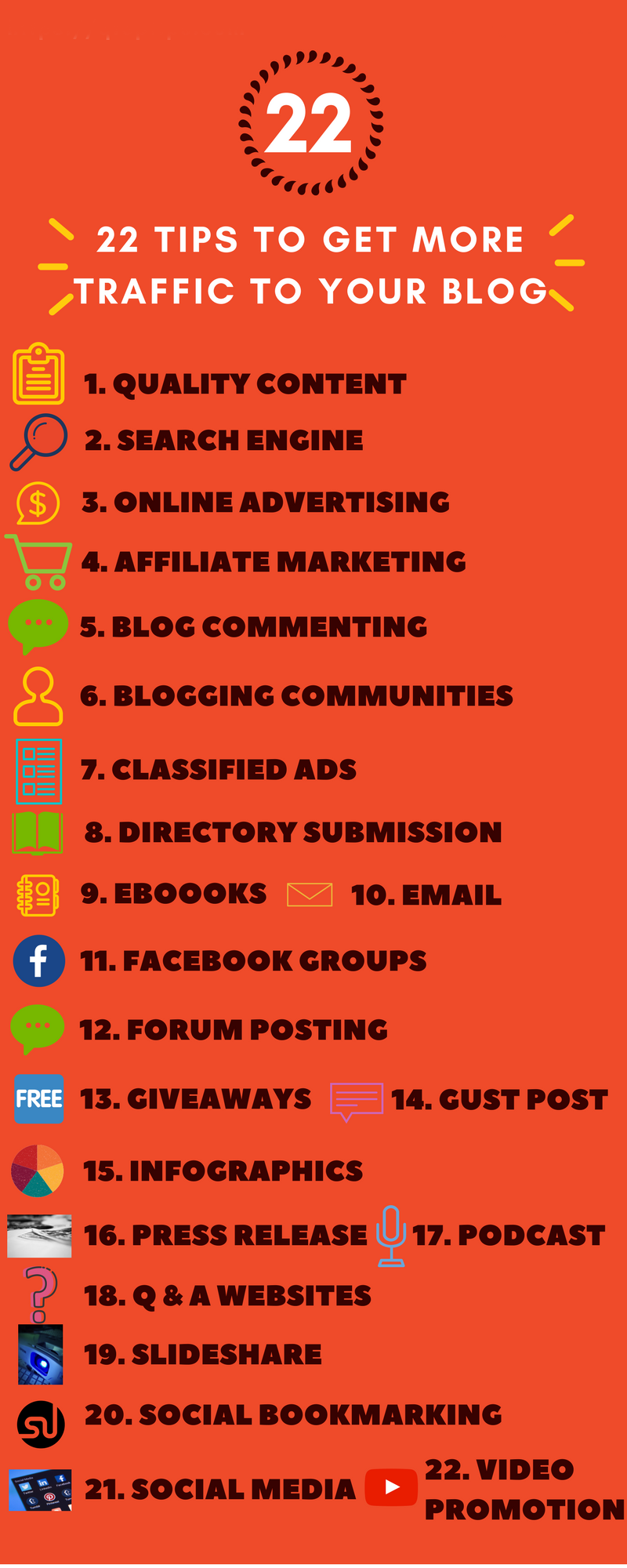 22 Tips to get more blog traffic Infographic